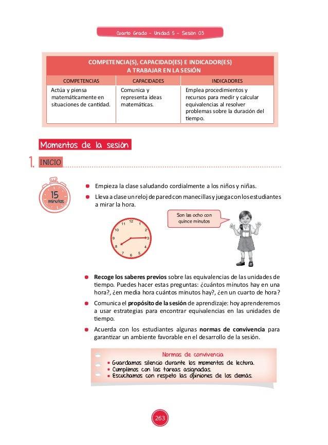 Documentos primaria sesiones unidad05 cuarto grado for Cuanto es un cuarto de hora