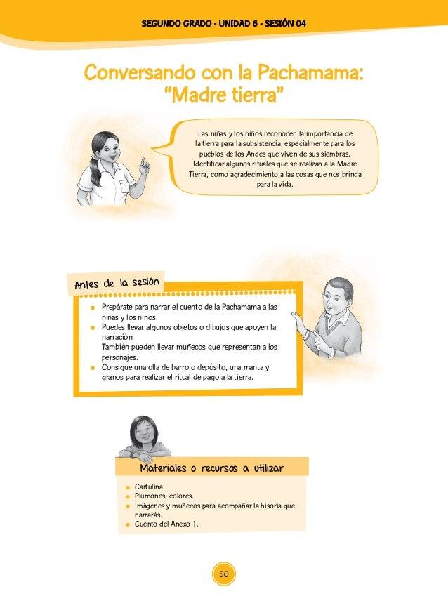 """SEGUNDO Grado - Unidad 6 - Sesión 04 50 Conversando con la Pachamama: """"Madre tierra"""" Cartulina.  Plumones, colores. Imá..."""