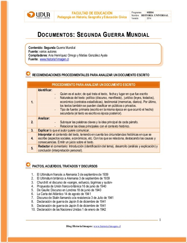 FACULTAD DE EDUCACIÓN Pedagogía en Historia, Geografía y Educación Cívica  Programas HIS504 Nombre HISTORIA UNIVERSAL Vers...