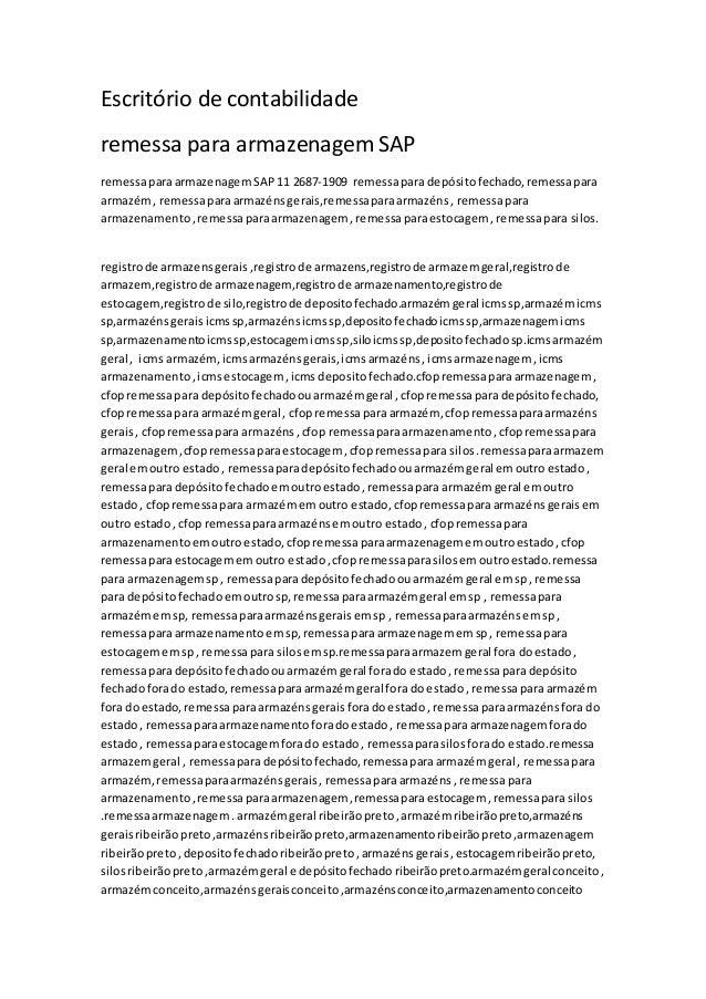 Escritório de contabilidade remessa para armazenagem SAP remessaparaarmazenagem SAP 11 2687-1909 remessapara depósitofecha...