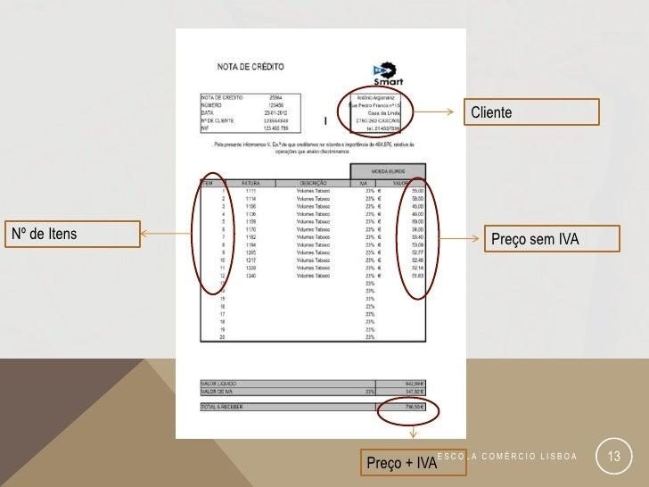 ClienteNº de Itens                         Preço sem IVA              Preço + IVA                            ESCOLA COMÉRC...