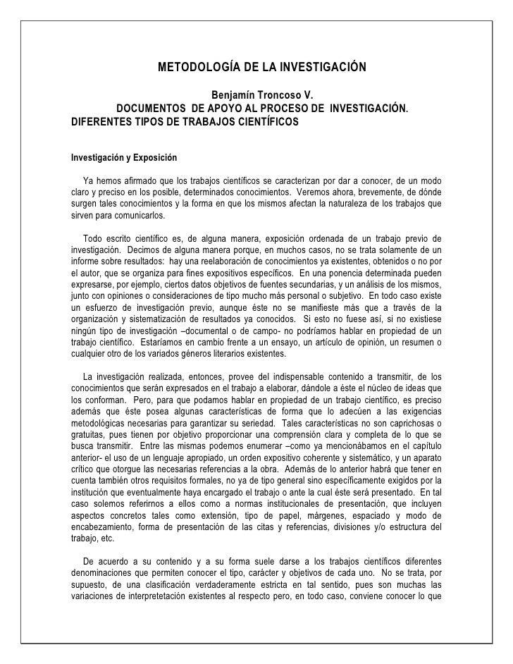METODOLOGÍA DE LA INVESTIGACIÓN                          Benjamín Troncoso V.         DOCUMENTOS DE APOYO AL PROCESO DE IN...