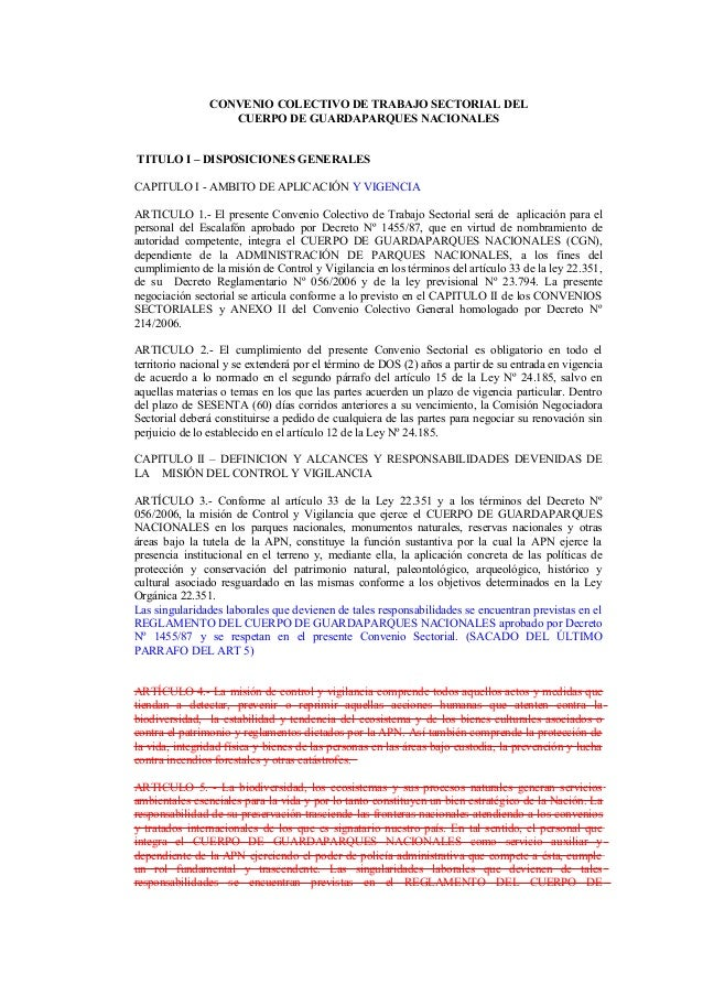 CONVENIO COLECTIVO DE TRABAJO SECTORIAL DEL CUERPO DE GUARDAPARQUES NACIONALES TITULO I – DISPOSICIONES GENERALES CAPITULO...