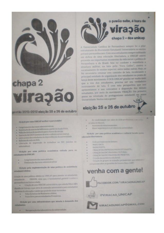 Documentos eleições dce da unicap outubro de 2012