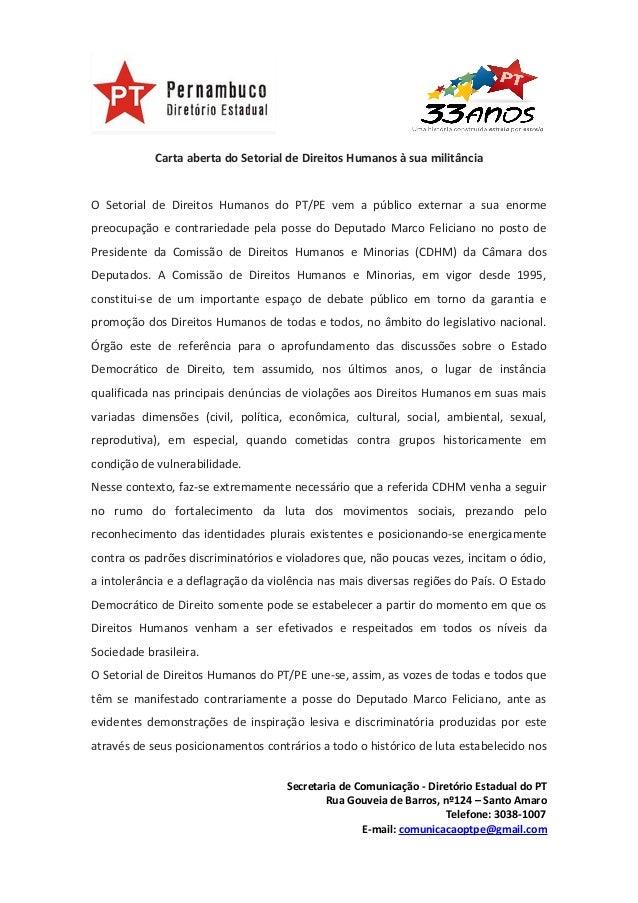 Carta aberta do Setorial de Direitos Humanos à sua militânciaO Setorial de Direitos Humanos do PT/PE vem a público externa...