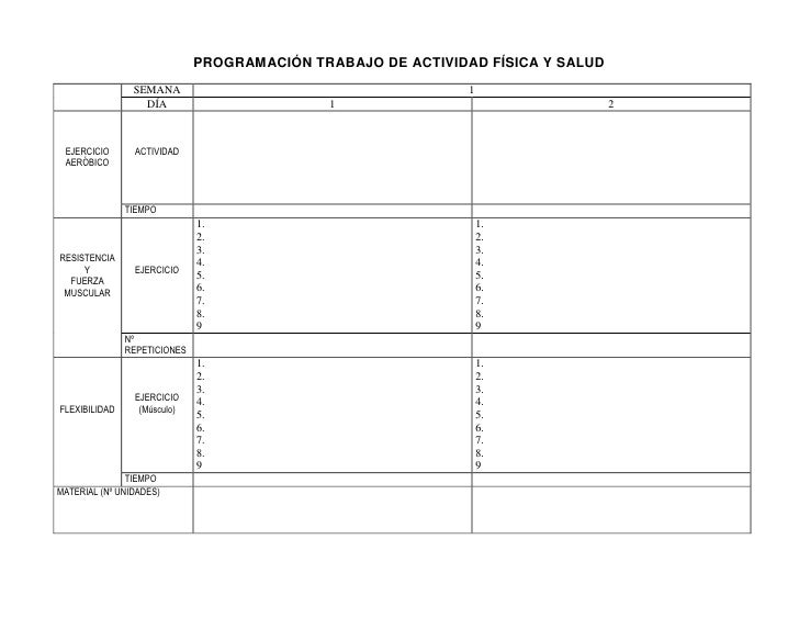 PROGRAMACIÓN TRABAJO DE ACTIVIDAD FÍSICA Y SALUD                SEMANA                                        1           ...
