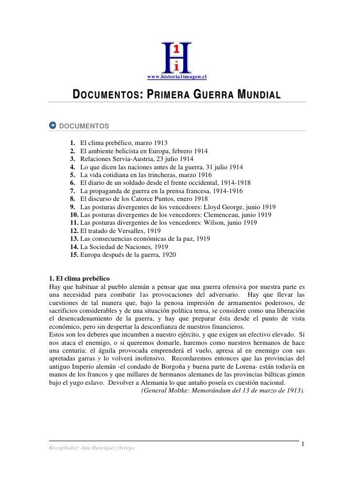 www.historia1imagen.cl            DOCUMENTOS: PRIMERA GUERRA MUNDIAL     DOCUMENTOS          1. El clima prebélico, marzo ...