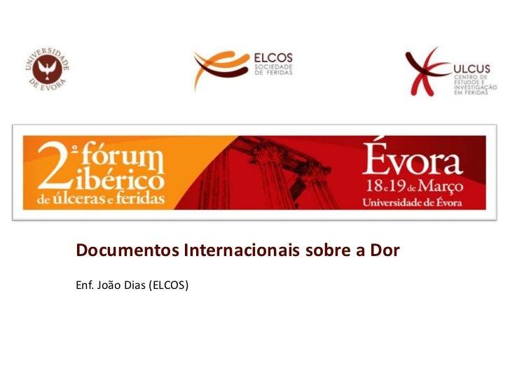 Documentos Internacionais sobre a Dor<br />Enf. João Dias (ELCOS)<br />