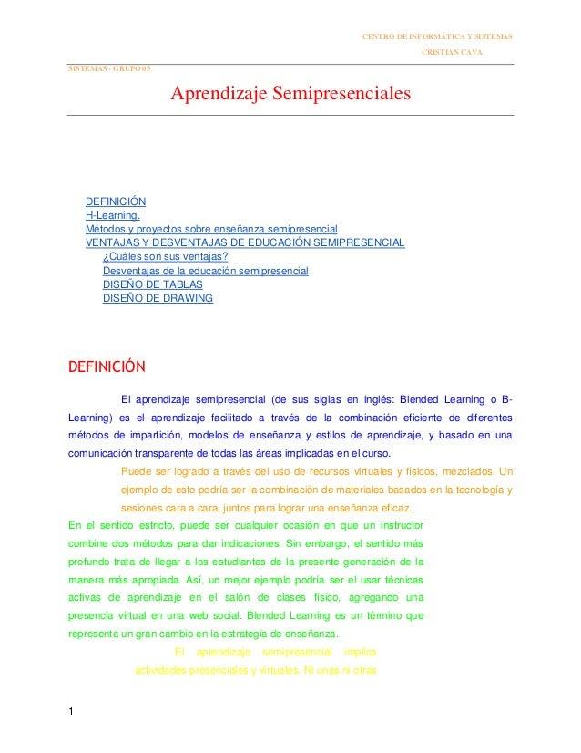 CENTRO DE INFORMÁTICA Y SISTEMAS CRISTIAN CAVA SISTEMAS - GRUPO 05 1 Aprendizaje Semipresenciales DEFINICIÓN H-Learning. M...