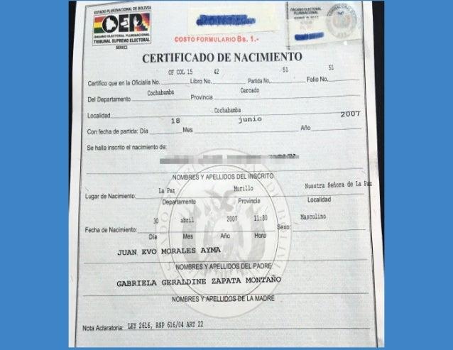 Certificado y partida de nacimiento