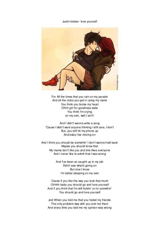 Justin bieber- love youself lyrics