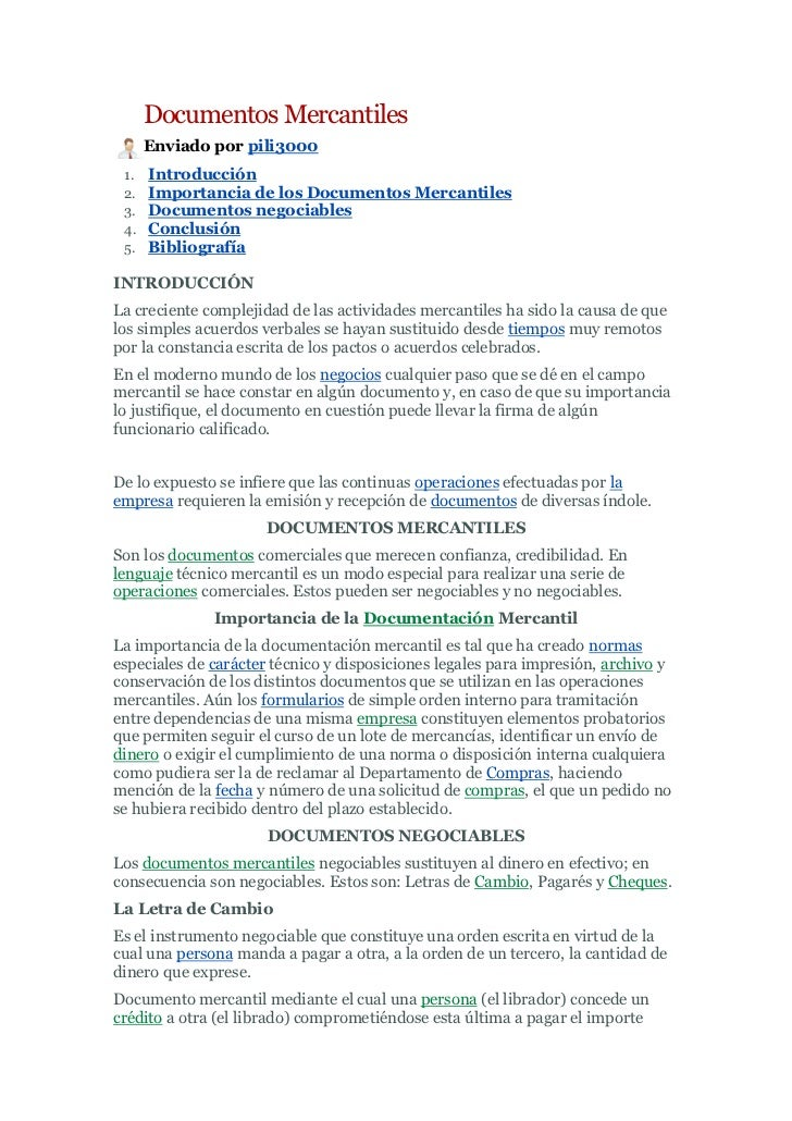 Documentos Mercantiles<br />left0Enviado por pili3000<br />Introducción <br />Importancia de los Documentos Mercantiles <b...