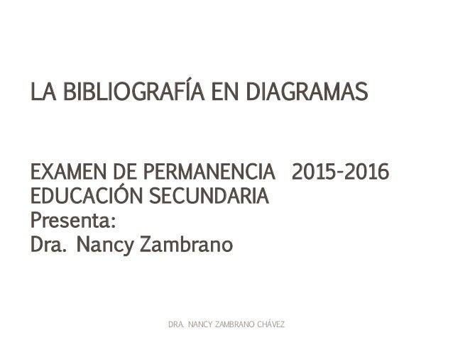 LA BIBLIOGRAFÍA EN DIAGRAMAS EXAMEN DE PERMANENCIA 2015-2016 EDUCACIÓN SECUNDARIA Presenta: Dra. Nancy Zambrano DRA. NANCY...