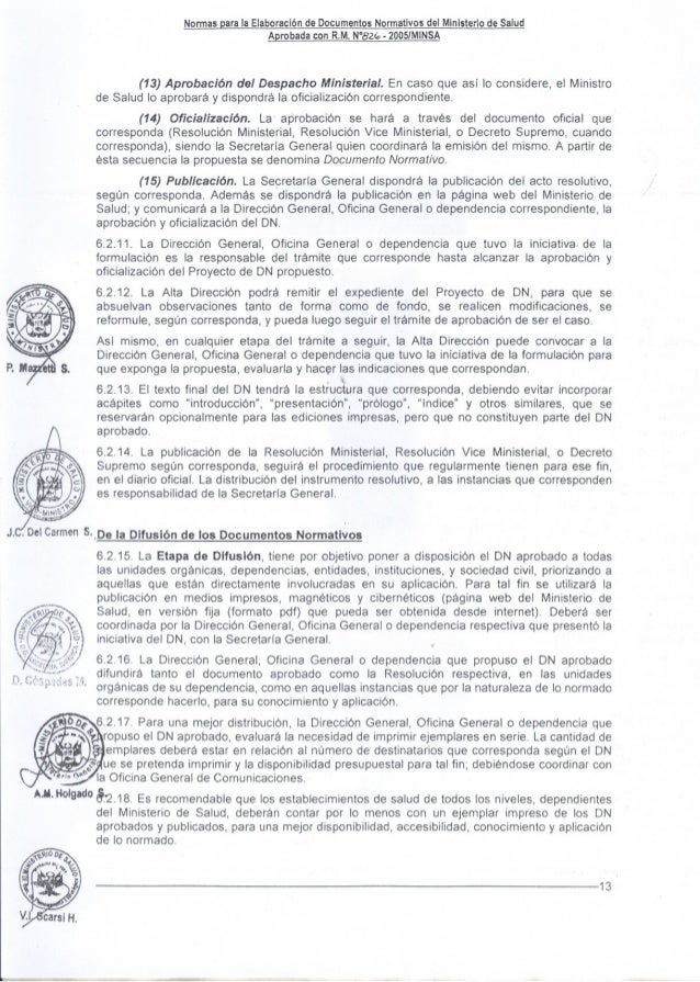 Normasparala ElaboracióndeDocumentosNormativosdel MinisteriodeSalud AerobadaconR.M.N°8z(:,. 200SfMINSA (13) Aprobación del...