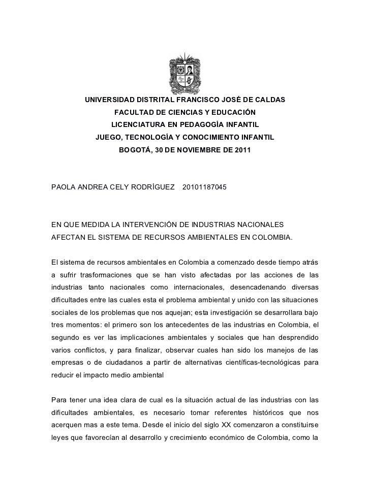 Investigación industrias colombianas e impacto ambiental