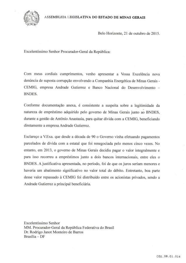ASSEMBLEIA LEGISLATIVA DO ESTADO DE MINAS GERAIS     Belo Horizonte,  21 de outubro de 2015.  Excelentíssimo Senhor Procur...
