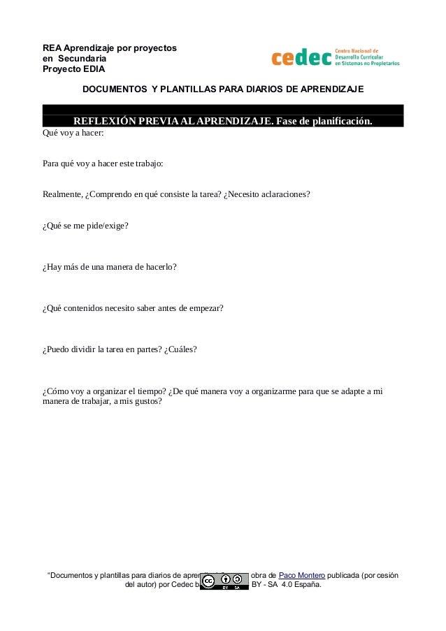 REA Aprendizaje por proyectos en Secundaria Proyecto EDIA DOCUMENTOS Y PLANTILLAS PARA DIARIOS DE APRENDIZAJE REFLEXIÓN PR...