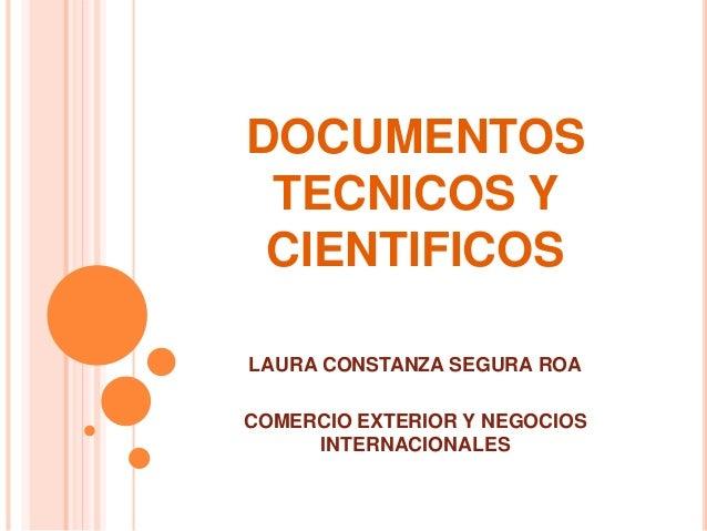 DOCUMENTOS TECNICOS Y CIENTIFICOS LAURA CONSTANZA SEGURA ROA COMERCIO EXTERIOR Y NEGOCIOS INTERNACIONALES