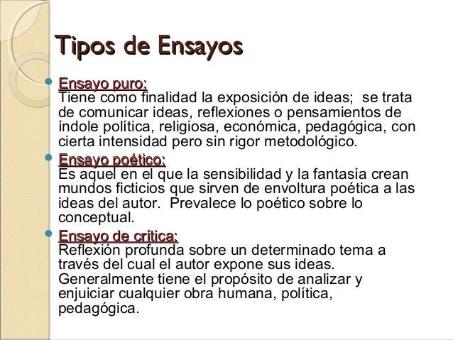 Tipos de EnsayosTipos de Ensayos  Ensayo puro:Ensayo puro: Tiene como finalidad la exposición de ideas; se trata de com...