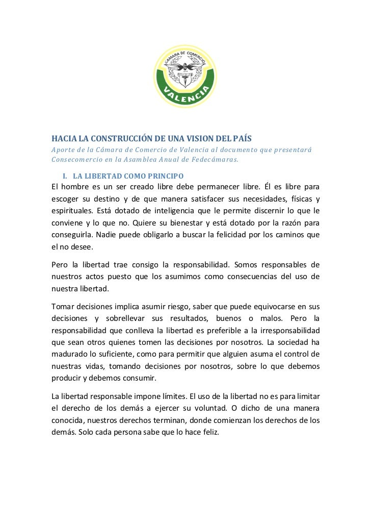 HACIA LA CONSTRUCCIÓN DE UNA VISION DEL PAÍSAporte de la Cámara de Comercio de Valencia al documento que presentaráConseco...