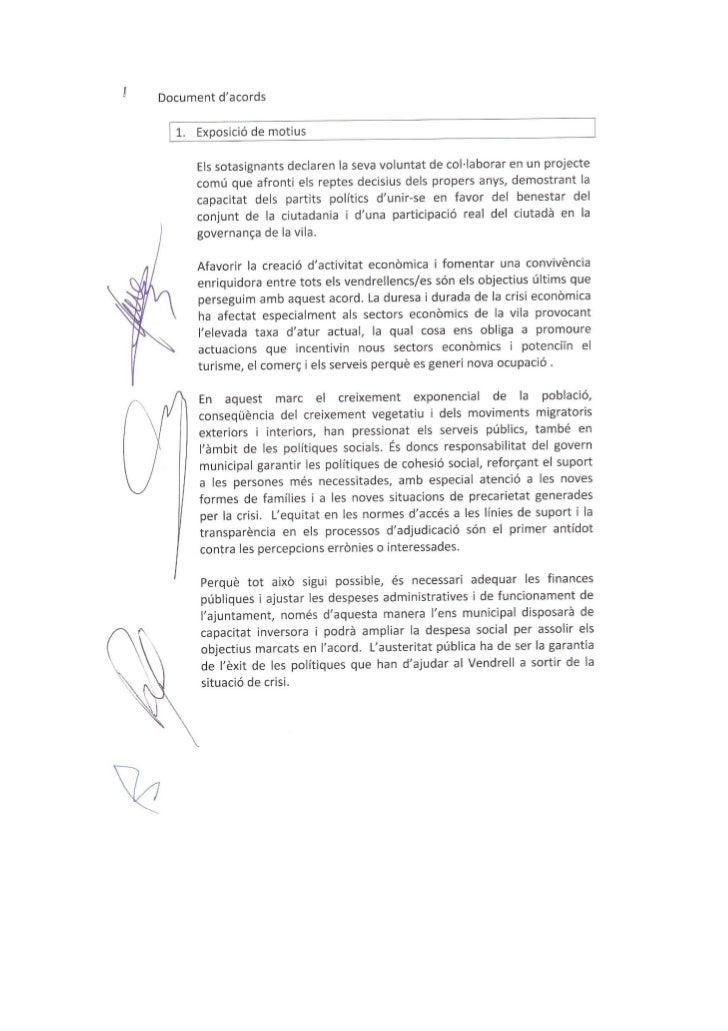 Pacte PSC CIU PP JUNTS PEL VENDRELL 2011