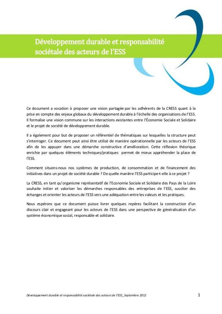 Développement durable et responsabilité      sociétale des acteurs de l'ESSCe document a vocation à proposer une vision pa...