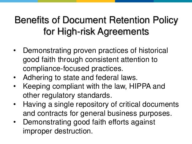 Why Document Retention Policies Are Important  Meditract