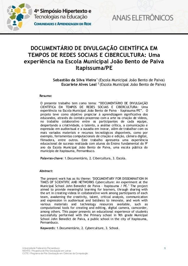 DOCUMENTÁRIO DE DIVULGAÇÃO CIENTÍFICA EM  TEMPOS DE REDES SOCIAIS E CIBERCULTURA: Uma experiência na Escola Municipal João...