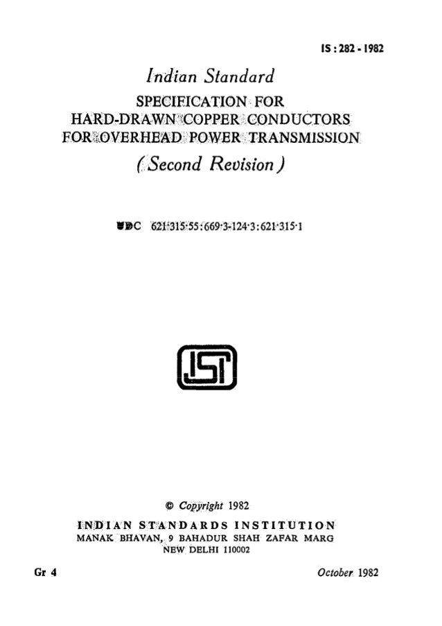 Indian standard for hard drawn copper conductors for over head power keyboard keysfo Image collections