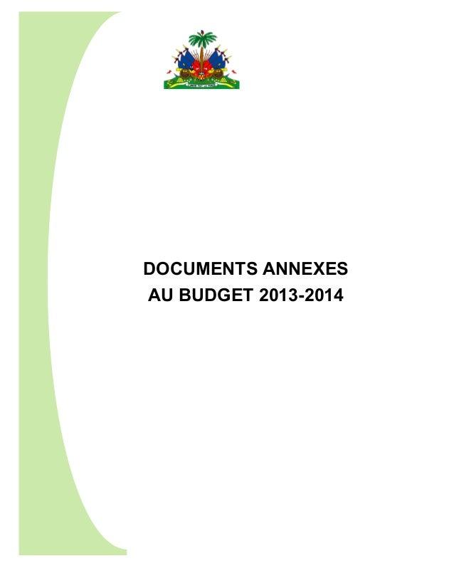 DOCUMENTS ANNEXES AU BUDGET 2013-2014