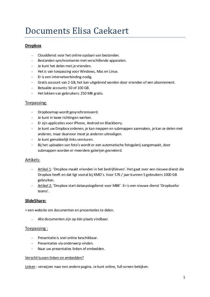 Documents Elisa CaekaertDropbox    -   Clouddienst voor het online opslaan van bestanden.    -   Bestanden synchroniseren ...