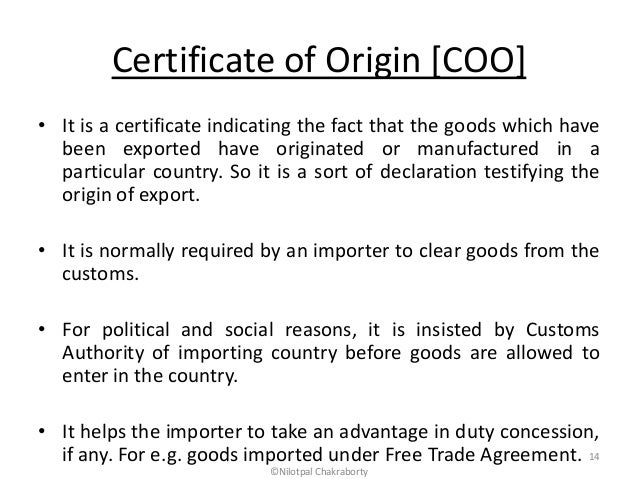 Documents for imports and exports – Country of Origin Document
