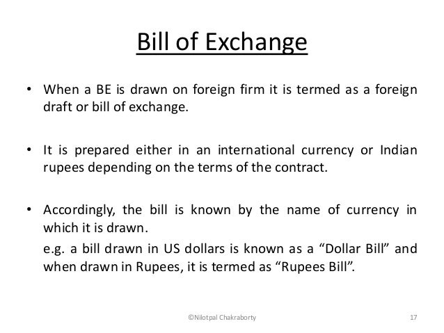 Documents for imports and exports – Bill of Exchange Sample