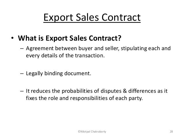 Documents for imports and exports – Export Agreement Sample