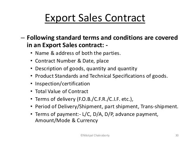 Documents for imports and exports – Export Contract