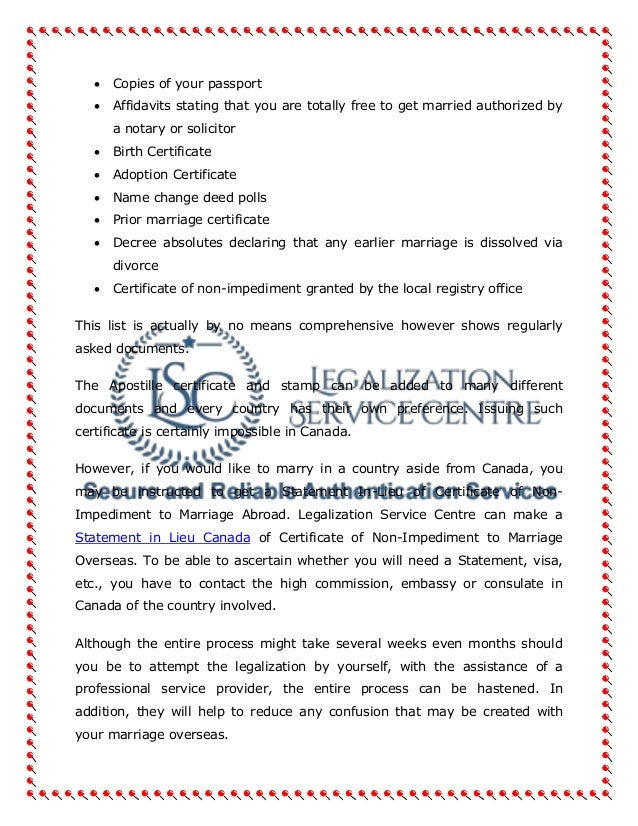 Marriage Certificate Authentication In Canada