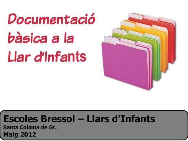 Escoles Bressol – Llars d'Infants Santa Coloma de Gr. Maig 2012 Documentació bàsica a la Llar d'Infants