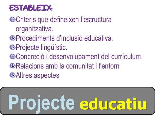 ESTABLEIX: Criteris que defineixen l'estructura organitzativa. Procediments d'inclusió educativa. Projecte lingüístic. Con...