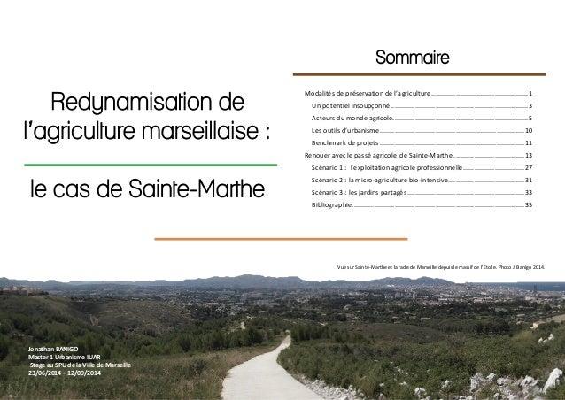 1 Redynamisation de l'agriculture marseillaise : le cas de Sainte-Marthe Sommaire Modalités de préservation de l'agricultu...