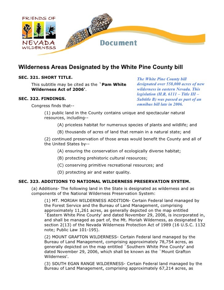 Wilderness Areas Designated by the White Pine County billSEC. 321. SHORT TITLE.                                   The Whit...
