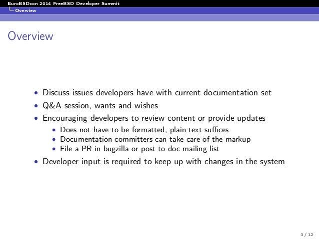 FreeBSD Devsummit 09-2014 Documentation WG Summary by