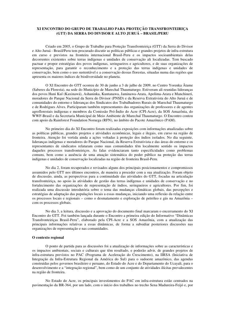 XI ENCONTRO DO GRUPO DE TRABALHO PARA PROTEÇÃO TRANSFRONTEIRIÇA            (GTT) DA SERRA DO DIVISOR E ALTO JURUÁ – BRASIL...