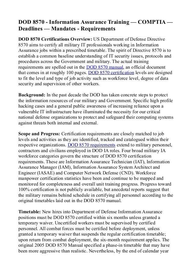 Dod 8570 Information Assurance Training Comptia Deadlines Mandates Re