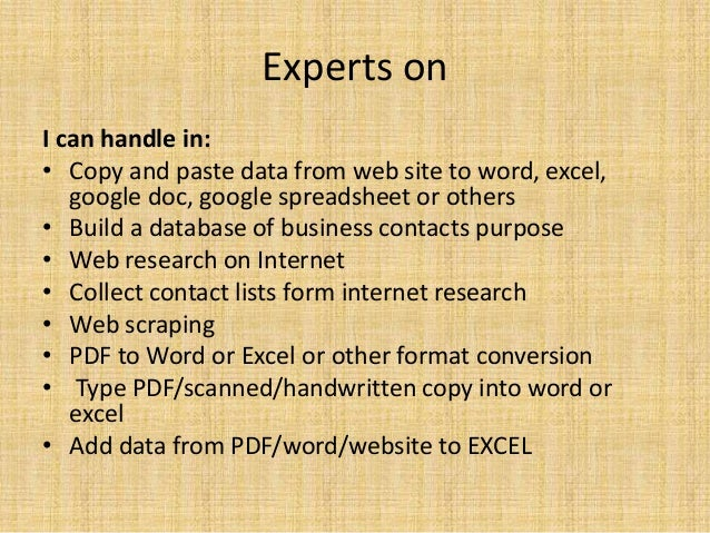 Data entry,pdf to excel,word, copy paste and conversion