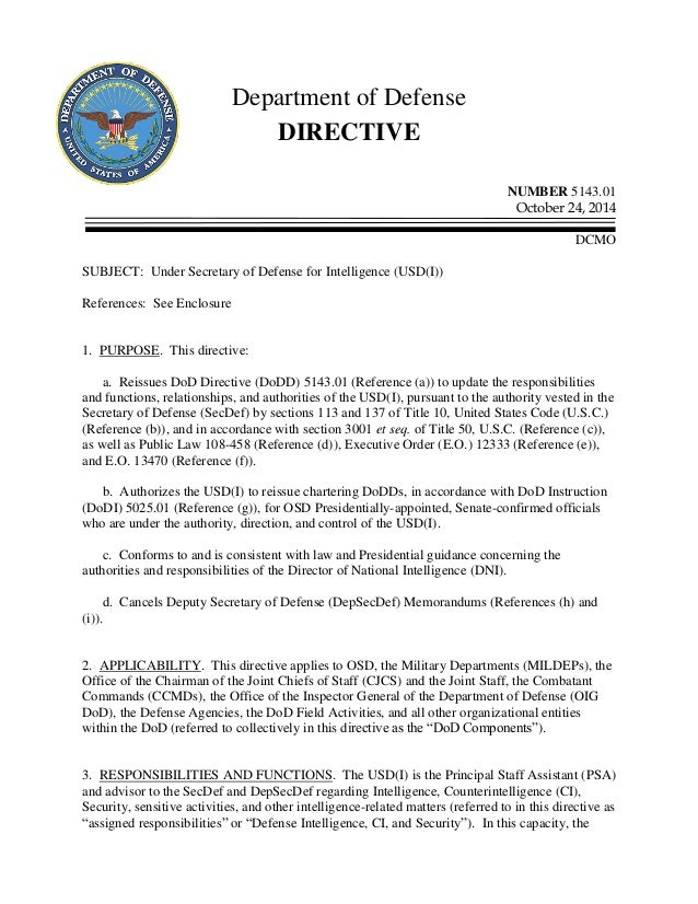 Department Of Defense Instruction 5143dusd Intelligence 24oct14