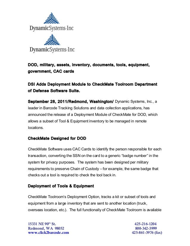DOD, military, assets, inventory, documents, tools, equipment,government, CAC cardsDSI Adds Deployment Module to CheckMate...