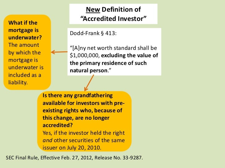 """New Definition of What if the                                 """"Accredited Investor"""" mortgage is                Dodd-Frank ..."""