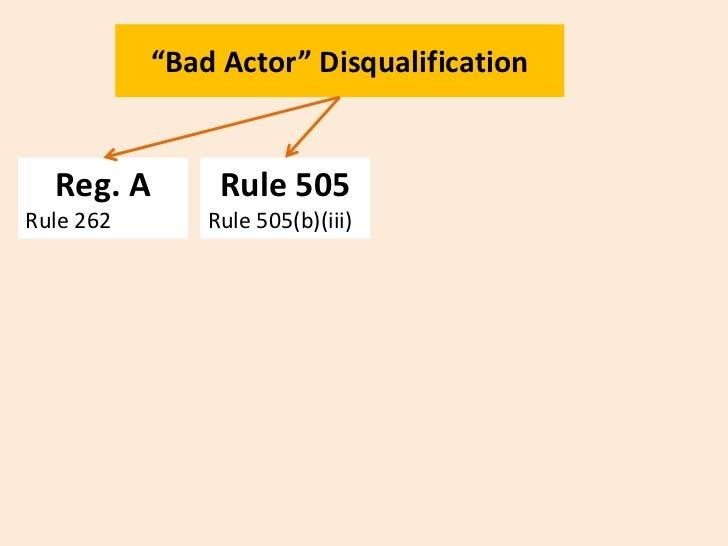 """Bad Actor"" Disqualification                                            Rule 506  Reg. A        Rule 505          Dodd-Fra..."