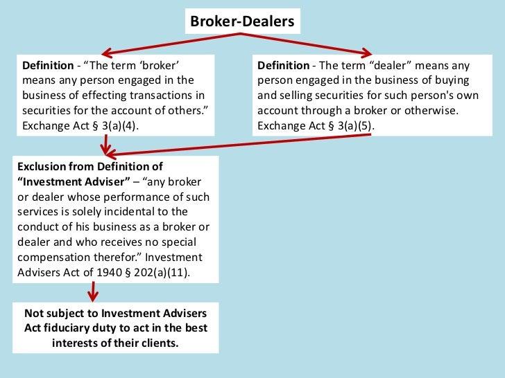 "Broker-DealersDefinition - ""The term 'broker'              Definition - The term ""dealer"" means anymeans any person engage..."