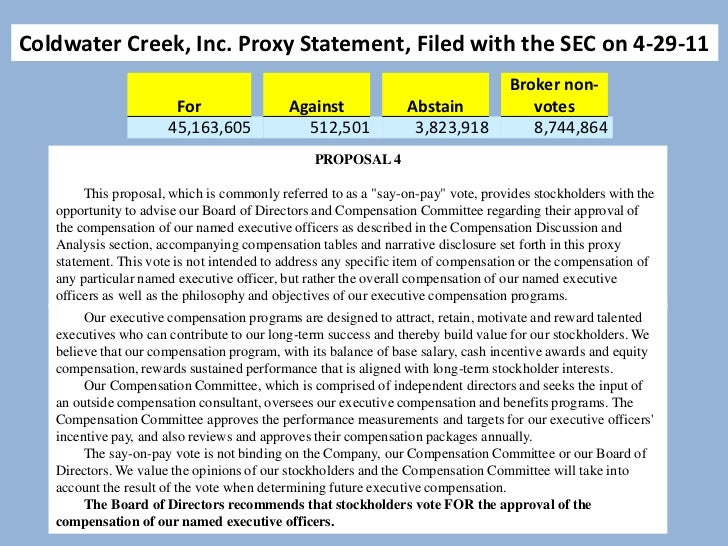 Coldwater Creek, Inc. Proxy Statement, Filed with the SEC on 4-29-11                                               PROPOSA...
